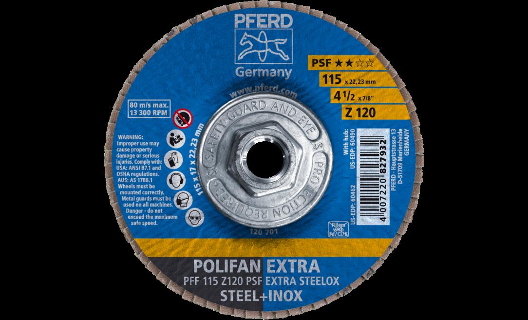 Zirconia 40 Grit Flat PSF-Extra 4-1//2 x 5//8-11 POLIFAN Flap Disc