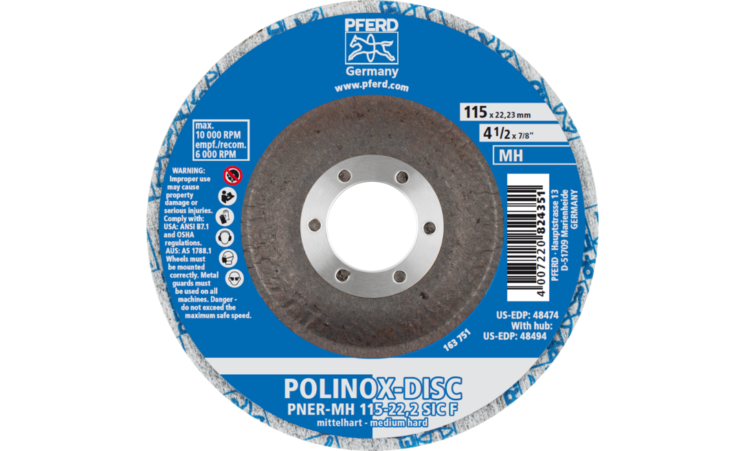Silicon Carbide Fine Grit 7650 RPM 5 Diameter PFERD Inc. PFERD 48166 Combiclick Non-Woven Unitized Disc 5 Diameter Soft Density