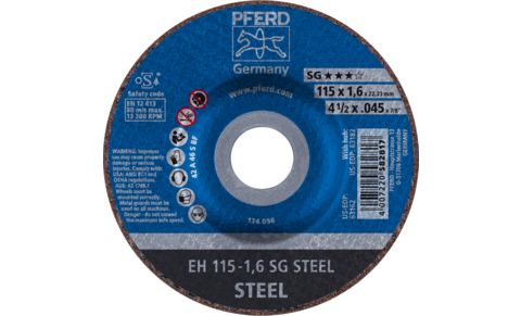 Cut-off wheels - Performance line SG - SG STEEL - Depressed Center (Type 27/42) - Plain Arbor Hole - 4-1/2'' x .045'' Cut-Off Wheel, 7/8'' AH A 46 S SG - Type 27 - Product image