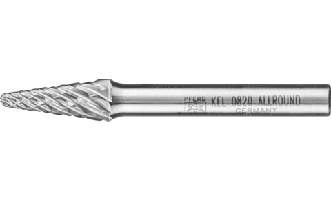TC burrs for high-performance applications - ALLROUND cut for versatile use - Conical shape with radius end KEL - Shank dia. 6 mm - Shank dia. 6 mm - Product image