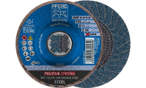 POLIFAN flap discs - Special Line SGP - Z SGP STRONG STEEL - Conical type PFC with X-LOCK - PFC 115 Z 36 SGP STRONG STEEL/X-LOCK - Product image