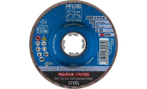 POLIFAN flap discs - Special Line SGP - Z SGP STRONG STEEL - Conical type PFC with X-LOCK - PFC 115 Z 36 SGP STRONG STEEL/X-LOCK - PRODUKTBILD VORNE