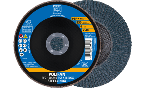 POLIFAN flap discs - Universal Line PSF - Z PSF STEELOX - Conical type PFC - PFC 150 Z 40 PSF STEELOX - Product image