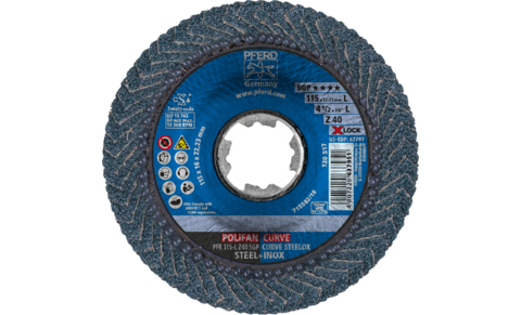 POLIFAN flap discs - Special Line SGP - Z SGP CURVE STEELOX - Radial type PFR with X-LOCK - PFR 115-L Z 40 SGP CURVE STEELOX/X-LOCK - PRODUKTBILD VORNE