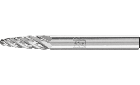 TC burrs for high-performance applications - STEEL cut for steel and cast steel - Tree shape with radius end RBF - Shank dia. 6 mm - RBF 0618/6 STEEL - Product image