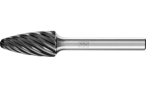 TC burrs for high-performance applications - INOX cut for stainless steel (INOX) - Tree shape with radius end RBF - Shank dia. 6 mm - RBF 1225/6 INOX HC-FEP - Product image