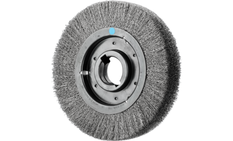 Wheel brushes - crimped - RBU, wide, industrial use - Stainless steel wire (INOX) - RBU 25048/AK32-2 INOX 0,30 - Product image