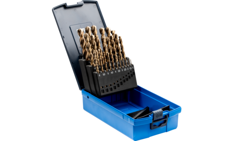 Drilling and countersink tools - HSS spiral drills - DIN 338 HSSE N INOX spiral drills, 25-piece set - DIN 338 HSSE N INOX spiral drills, 25-piece set - Product image