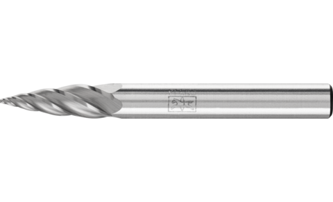 Carbide burs, high performance line - ALU cut for aluminum/non-ferrous metals - Tree bur with pointed end – Shape G - 1/4