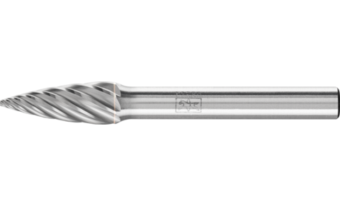 TC burrs for high-performance applications - INOX cut for stainless steel (INOX) - Pointed tree shape SPG - Shank dia. 6 mm - Shank dia. 6 mm - Product image