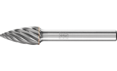 TC burrs for high-performance applications - INOX cut for stainless steel (INOX) - Pointed tree shape SPG - Shank dia. 6 mm - SPG 1020/6 INOX - Product image